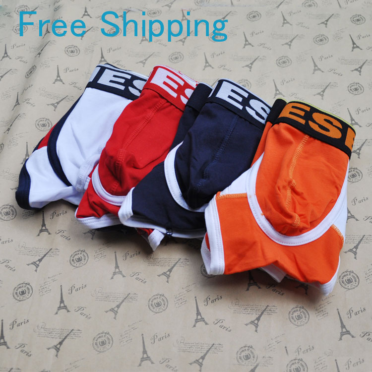 100% cotton man underweare sexy low waist short panties boy boxer mans trunk shorts underpants Free shipping(China (Mainland))