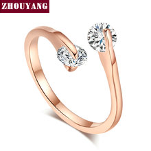 Buy ZYR007 Fashion Design Twin Cubic Zirconia Engagement Rose Gold Color Wedding Ring Austrian Crystals Full Sizes Wholesale for $1.41 in AliExpress store