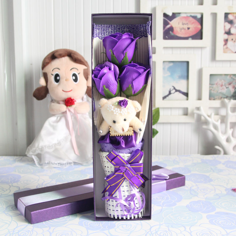 Hot sale low price teddy bear Roses Mix Colors Rose Soap Flower Valentine's Day and Mother's day gifts free shipping(China (Mainland))