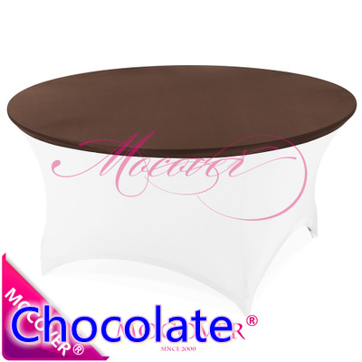 chocolate spandex tablecloth table cover fit for 5ft-6ft round tables,lycra top cover for wedding,banquet and party decoration(China (Mainland))