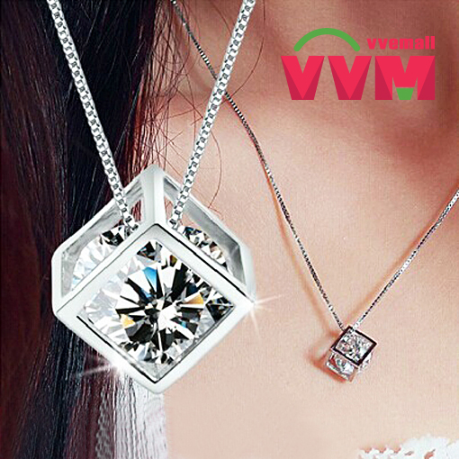 Top-Quality new charm Italina 18k white gold GP Austrian Crystal heart Love Cube Pendants chain choker drop necklace for women(China (Mainland))