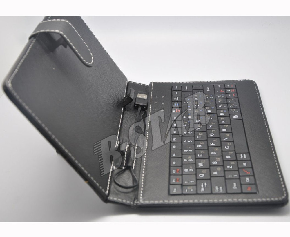 """Free Shipping Leather Case USB Russian Keyboard for 7"""" 8"""" 9"""" 9.7"""" 10.1"""" Tablet PC +style capacitive pen + Two OTG cables(China (Mainland))"""