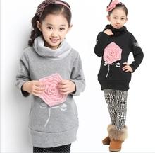 Kids Girl Cotton Velvet Lining Sweater Children Girls Rose Flower Autumn Winter Clothing Turtleneck Sport Outerwear Free Ship(China (Mainland))