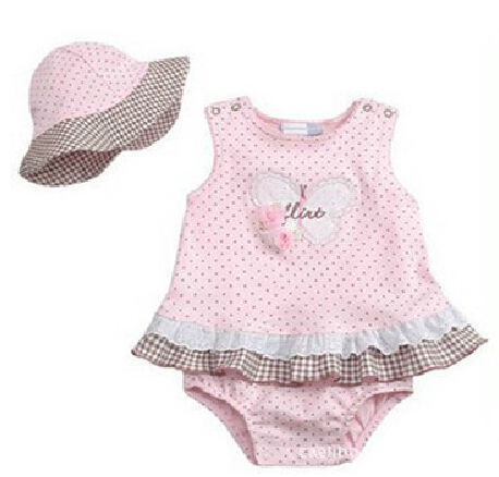2 Pcs Baby Girls Flower Suit+Hat Set Outfits 0-2 Years ClothesFree shipping & Drop shipping(China (Mainland))