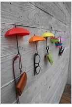 2boxes=6pcs/lot Cute Umbrella Hooks Towel Key Glasses Sundries Hook Hanger Home Bathroom Storage Holder Hanger PP Mix colors(China (Mainland))
