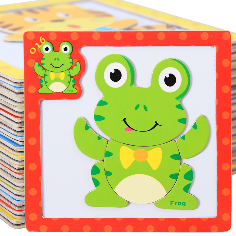 Baby Toys 3Pcs/Lot 3D Magnetic Puzzles Wooden Toys Tiger/Bear/Frog Cartoon Animals Puzzles Tangram Child Educational Gift(China (Mainland))