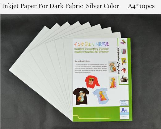 (A4*10pcs) Metallic Iron On Dark Inkjet Heat Transfer Paper For 100% Cotton T shirts Thermal For Dark and Light Fabrics HTS-300(China (Mainland))