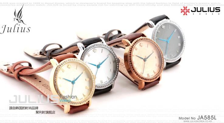 Юлий леди наручные часы кварцевые женщина часов лучший мода платье корея браслет кожаный ремешок прекрасный феникс любителей подарок JA-585