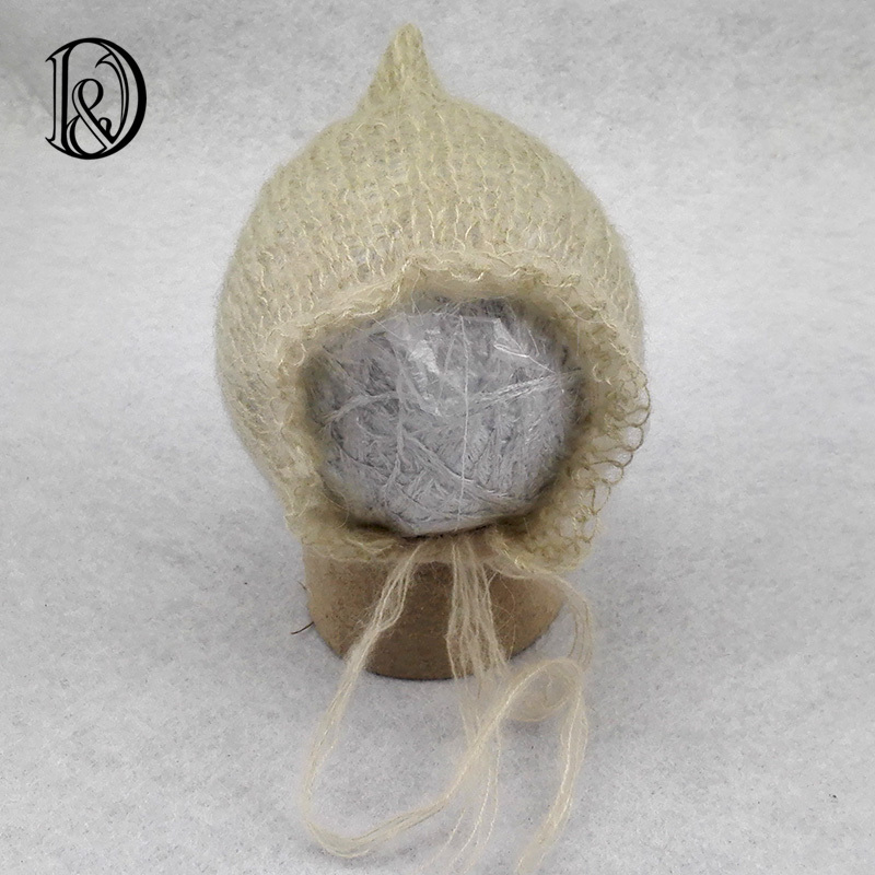 Hand Knit Mohair Baby Hat Infant Bonnet Newborn Baby Photography Props Baby Shower Gift Props For Photography(China (Mainland))
