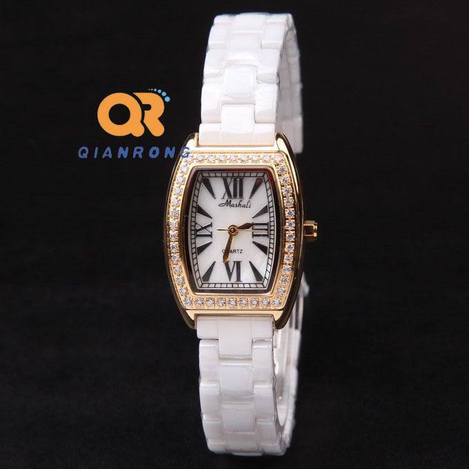 women dress watches golden luxury ladies fashion watch Rectangle water resistant genuine ceramic band watch steel quartz clock<br><br>Aliexpress