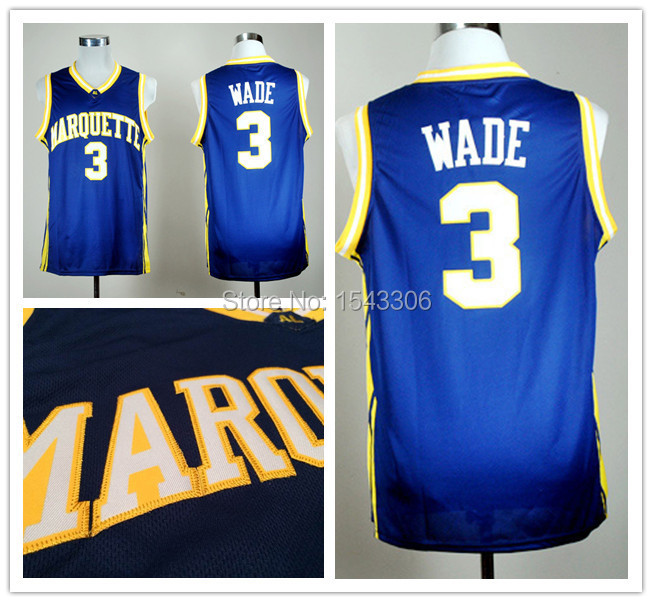 NCAA Marquette Golden Eagles Basketball Jersey #3 Dwyane Wade Jersey, Navy Blue College Jersey Stitched Logo Size 44-56(China (Mainland))