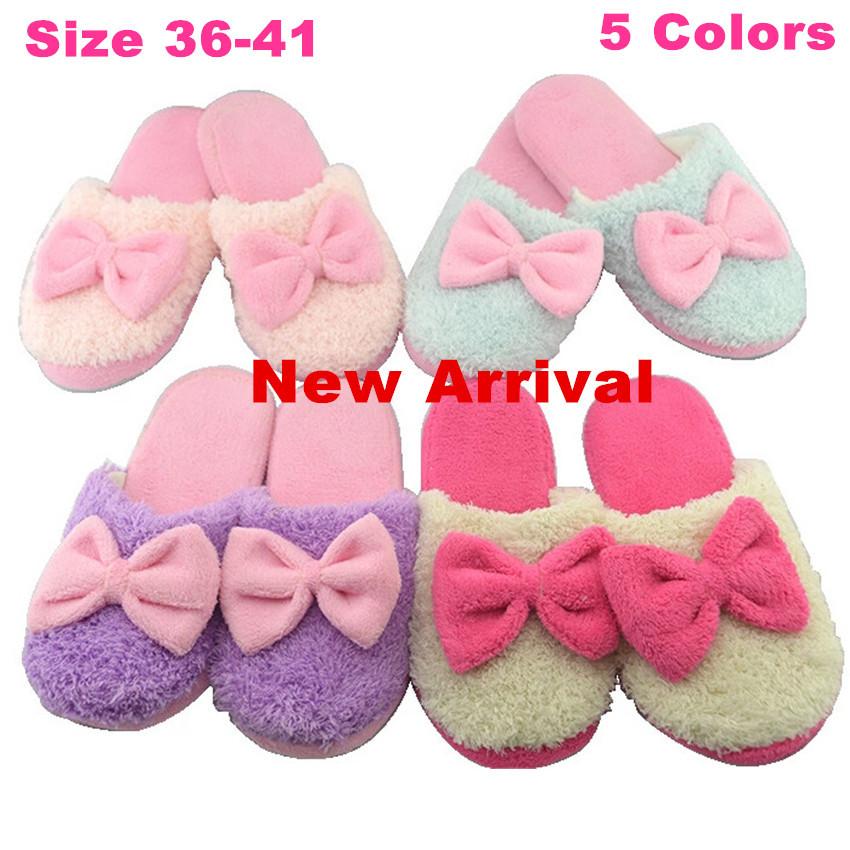 Cute Fashion Cotton-Padded Flat Ladies Shoes 2014 Fall Winter Warm Soft Bowknot Coral Fleece Home Slipper Women - Yiwu Trendz Accessories Co.,LTD store