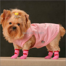 4Pcs/set Cute Puppy Dogs Pet Knits Socks Anti Slip Skid Bottom Hot Sale Fashion(China (Mainland))