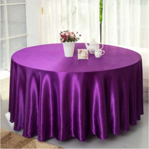10pcs Plum 120 Inch Round Satin Tablecloths Table Cover for Wedding Party Restaurant Banquet Decorations(China (Mainland))