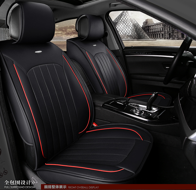 black beige red brand small hole ventilate wear resistance pu leather Front&Rear full set Universal car seat covers four seasons(China (Mainland))