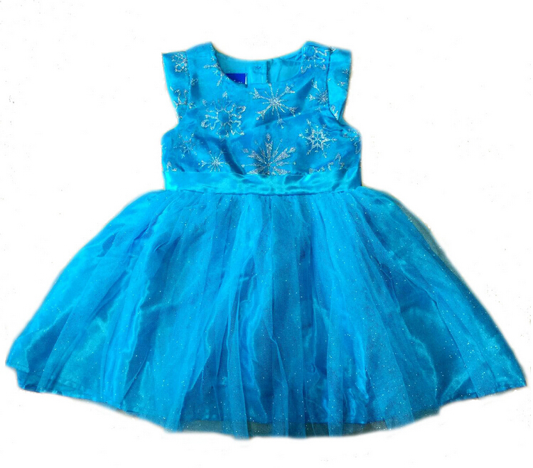 Cartoon Princess girls childrens kids dress summer girl blue dresses fancy costume cosplay costumes 8 pcs/lot(China (Mainland))