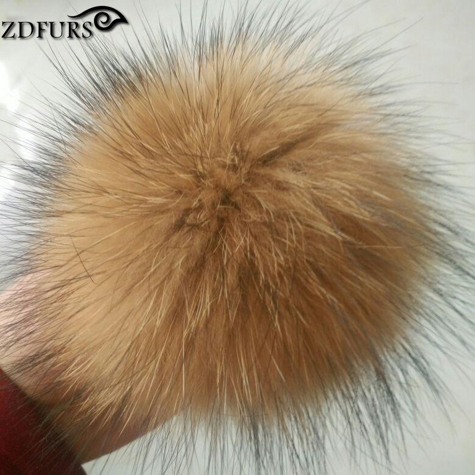 ZDFURS *14-15cm Real raccoon fur pom poms luxurious fur balls for knitted cap winter beanies real fur Accessories ZDA-164014(China (Mainland))