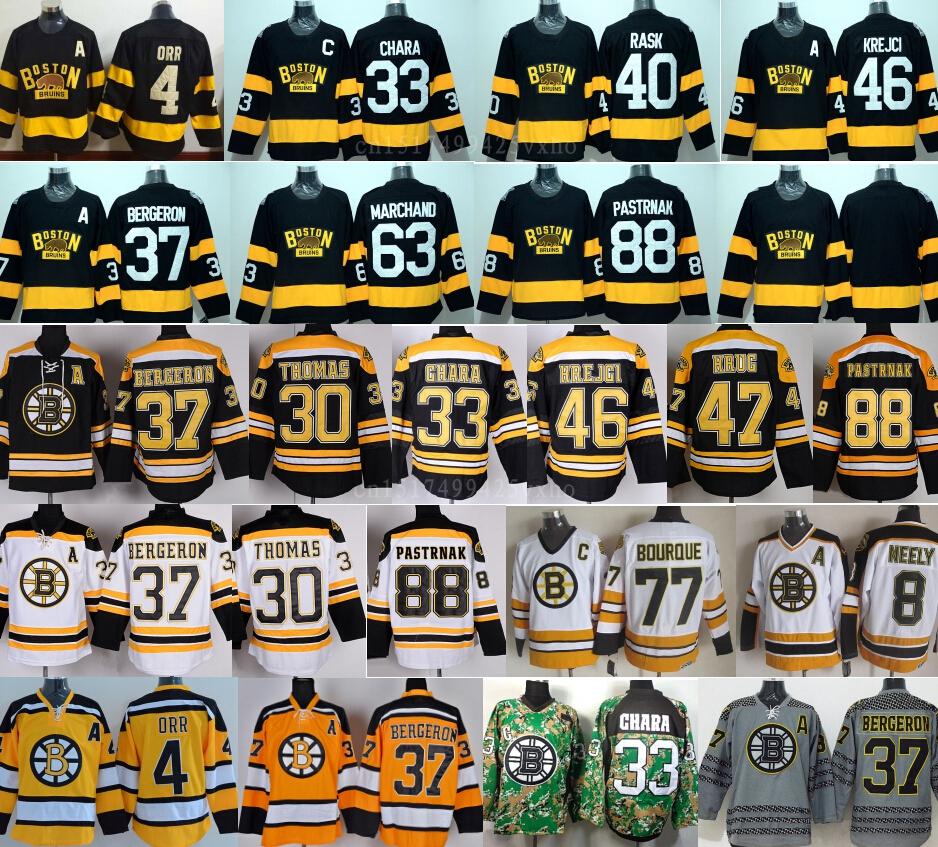 2016 Boston Bruins Winter Classic Hockey Jerseys Zdeno Chara,Patrice Bergeron,Tuukka Rask,David Krejci,Brad Marchand 88 Pastrnak