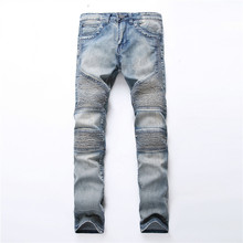 2017 Denim Jeans Ripped Hole Distressed Biker Jeans Stretch for Men Motorcycle Pants Skinny New Brand Slim Jeans Plus Size 40 42(China)