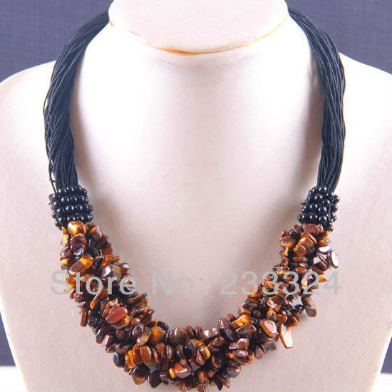 "6X8MM Tiger's Eye Chip Beads Nylon Line Weave Necklace 20"" 1Pcs E715(China (Mainland))"