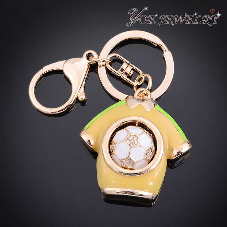 White Gold Plated Candy Color Fur Ball Key Chains ,Mini T-Shirt Keyrings Fashion World Cup Football Fans Souvenir(China (Mainland))