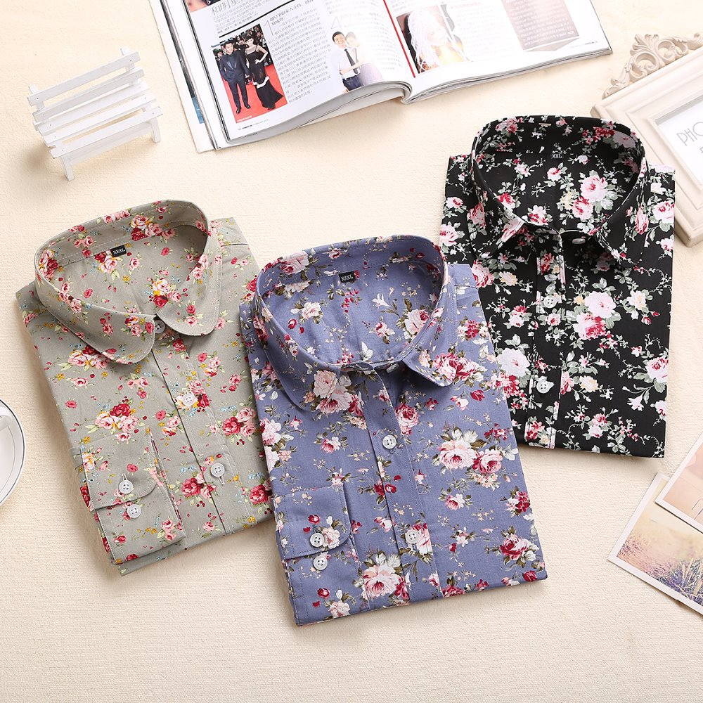 New Long Sleeve Ladies Blouse Women Floral Turn Down Collar Cotton Women Shirts Casual Womens Tops Fashion 2015(China (Mainland))