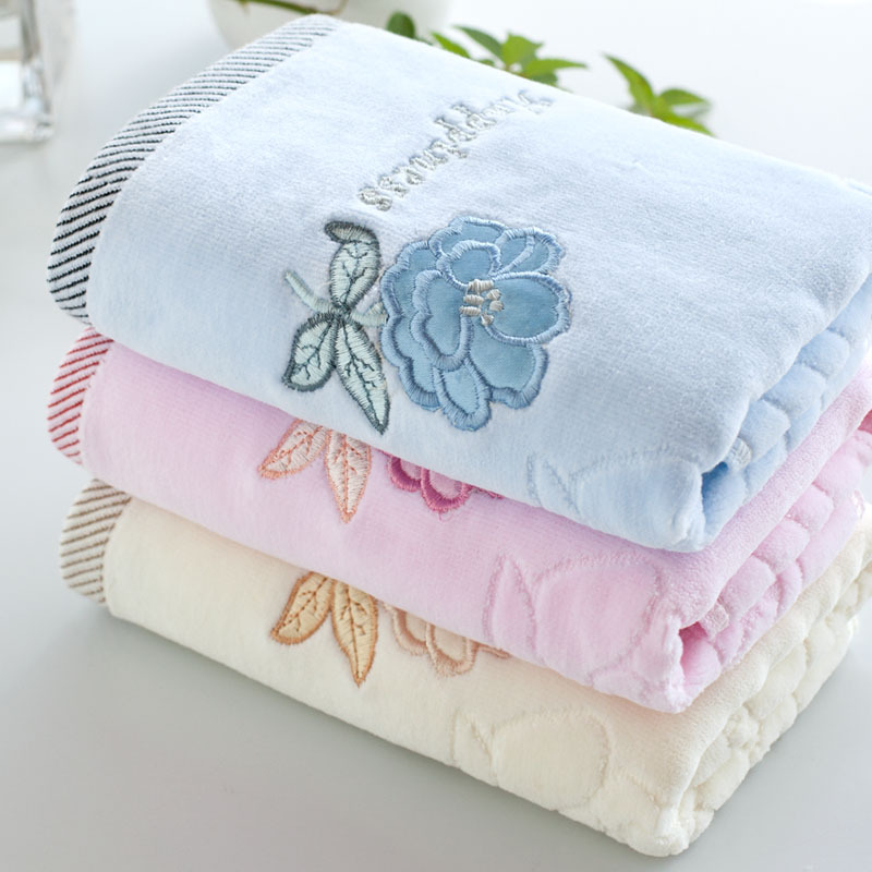 Soft 100% Cotton Embroidered Flower Face Bath Hand Towel Velvet Pile Towel(China (Mainland))