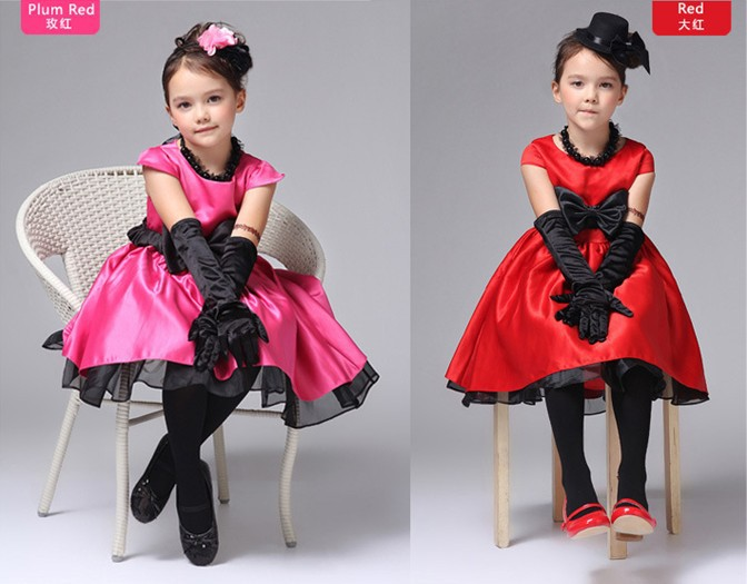 RQ0018 Free shipping summer fancy baby party dress girl satin princess dress with bowknot popular ball gown child clothes retail(China (Mainland))