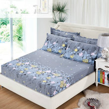 3pcs/set Bedding rubber fitted bed sheet +pillowcase gray flower elastic bed cover summer mattress cover bedclothes bedspread(China)