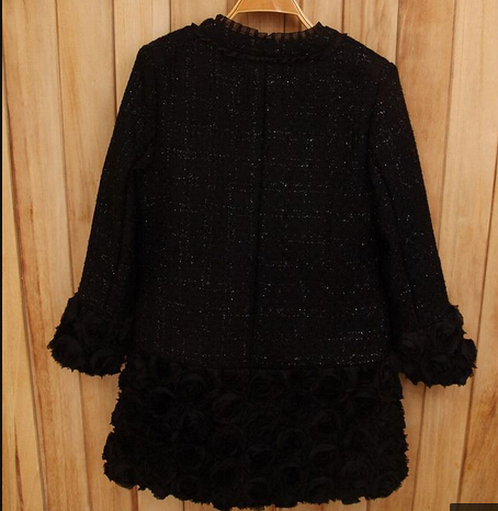 Hot Sale New 2014 Women Winter Outwear Fashion Rose Flower Patchwork O-Neck Plus Size Elegant Slim Long Trench Coat WJ1601(China (Mainland))