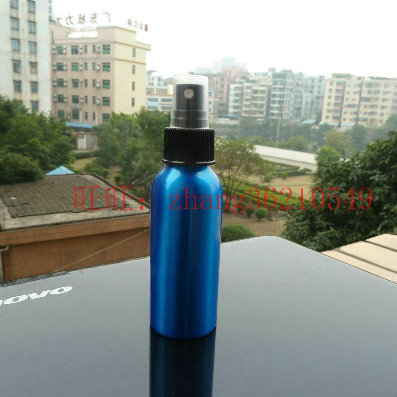 100ml aluminum blue bottle With black plastic mist sprayer.aluminum perfume atomizer bottle container<br><br>Aliexpress