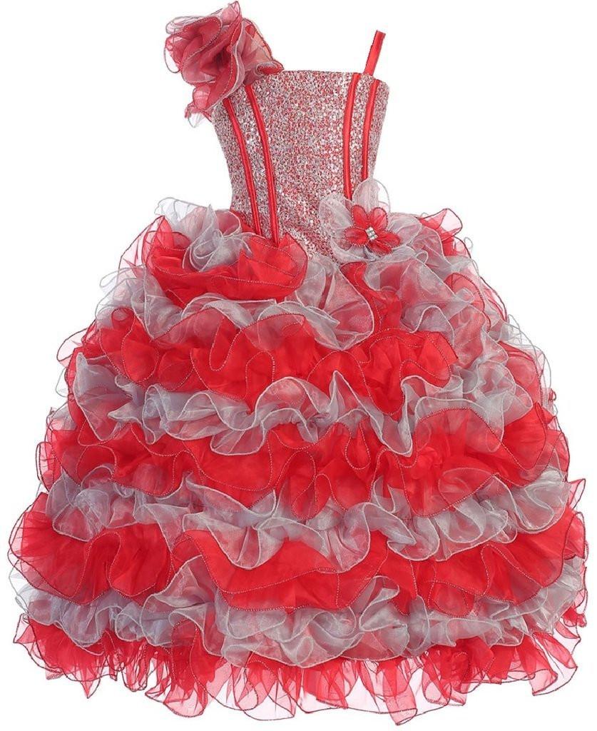 2016 Ruffles Ball Gown Flower Girl Dresses for Wedding 2016 Girls Long Pageant Dress Summer Brithday Gift Girl Kids Clothes