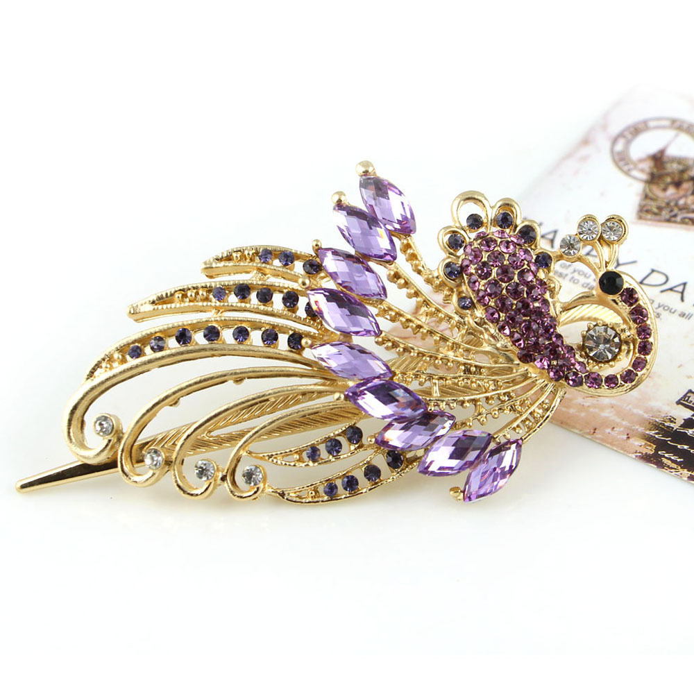 Free Shipping Amazing Palace Luxury phoenix peacock Hair barettes pin fashion Crystal Bird jewelry accessories 2015New year gift(China (Mainland))