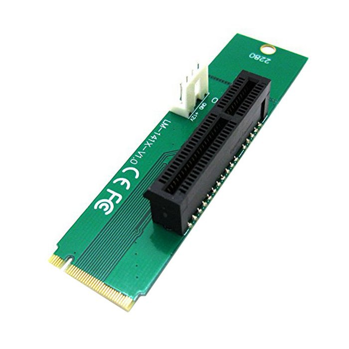 50pcs /lots PCI Express PCI-E 4X Female to NGFF M.2 M Key Male Adapter Converter Card with Power Cable<br><br>Aliexpress