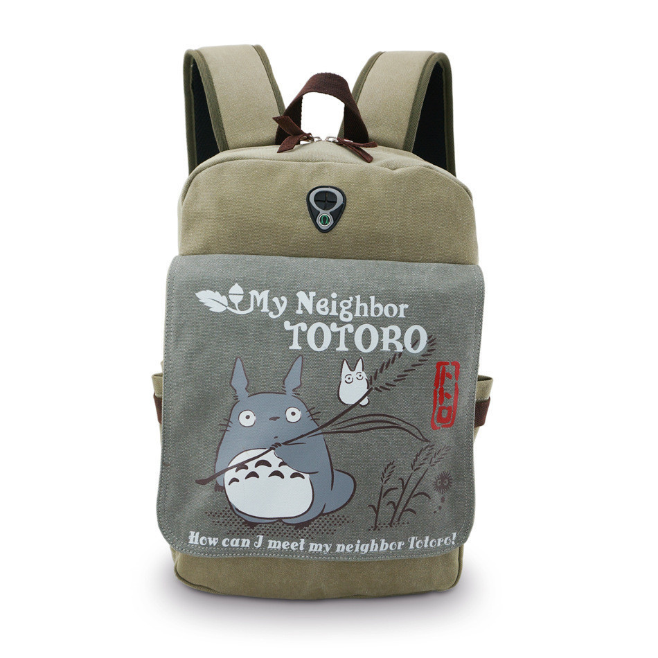 Totoro Backpack Anime My Neighbor Totoro Shoulders Bag Canvas Unisex Computer/laptop Bags Children Schoolbag Totoro Backpacks(China (Mainland))