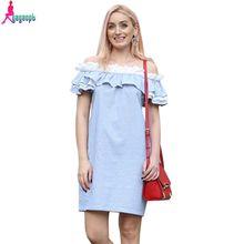Gagaopt 2016 100% Cotton Summer Sexy Slash & off Shoulder Party Dress with Ruffles Sleeve Women Dresses Vestidos Robes,P14B5-8(China (Mainland))