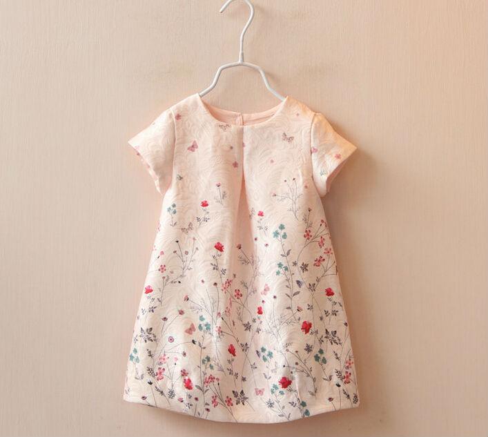 2016 New Spring Summer Beautifull Short Sleeve Little Girl Floral Print Dress Children Sweet Party Dress Kids Wear Clothing  <br><br>Aliexpress