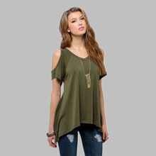 2016 Summer fashion solid Tank Tops Women  v-Neck hole on shoulder Loose T Shirt Ladies female sexy clothes loose Vest tanks(China (Mainland))