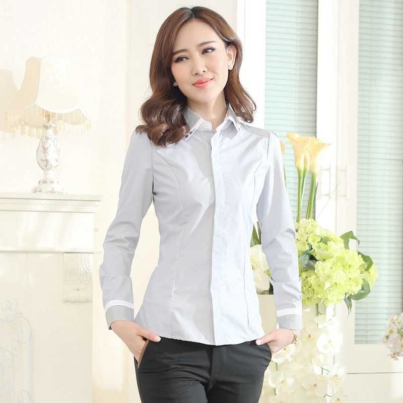 New Women Elegent Patchwork Slim Shirt Frimly Hot Drilling Turn-Down Collar Work Wear Blouses Tops S-4XL Good Quality(China (Mainland))
