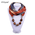 Hot Selling Multicolored Chiffon Natural Beads Jewelry Wrap Scarf Necklace for Women SC150164