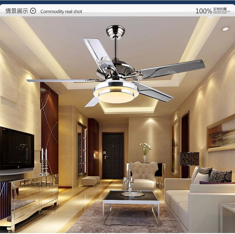 Dining Room Living Room Ceiling Fan Lights Led European Modern Simple Fashion Cuntie Leaf Fan