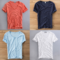 Top Quality Breathable Summer Loose Deep V neck Ultra Thin T shirt Linen Tshirt Underwear Men