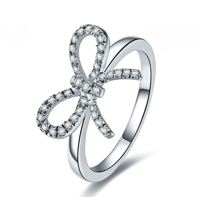Hot Sale Halo Style Butterfly NSCD Synthetic Diamond Ring For Women Engagement wedding 925 Sterling Silver Jewelry Gift(China (Mainland))
