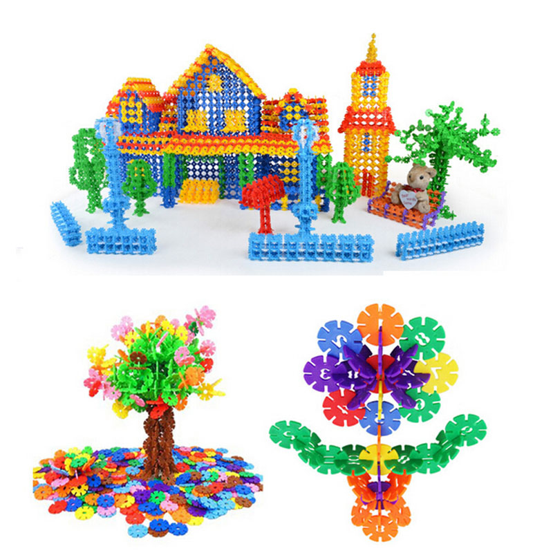 Funny 100pcs DIY Snowflake Puzzle Building Baby Kids Educational Toys Gift 2016 New Arrival(China (Mainland))