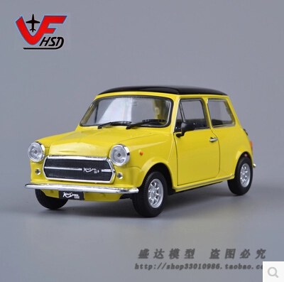 Mr Bean Mini Cooper 1300 WELLY 1:24 car Yellow Alloy car model Classic cars Original Vintage cars baby toy(China (Mainland))