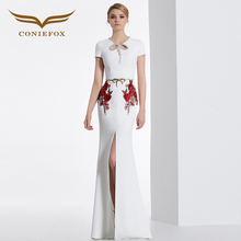 CONIEFOX 31629 white embroidery Fashion sexy Ladies birthday Appliques prom dresses party evening dress gown long Xmas dress(China (Mainland))