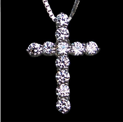 Fine Cross-shaped Pendant trendy jewelry 0.6ct micro synthetic Diamond semi mount pendant wholesale Necklace(China (Mainland))