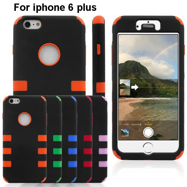 3 Piece Combo Hard PC Plastic Silicone Front Back Case Cover apple iphone 6 plus Rugged Armor Heavy Duty hard shell - IRS Trading Co.,Ltd store