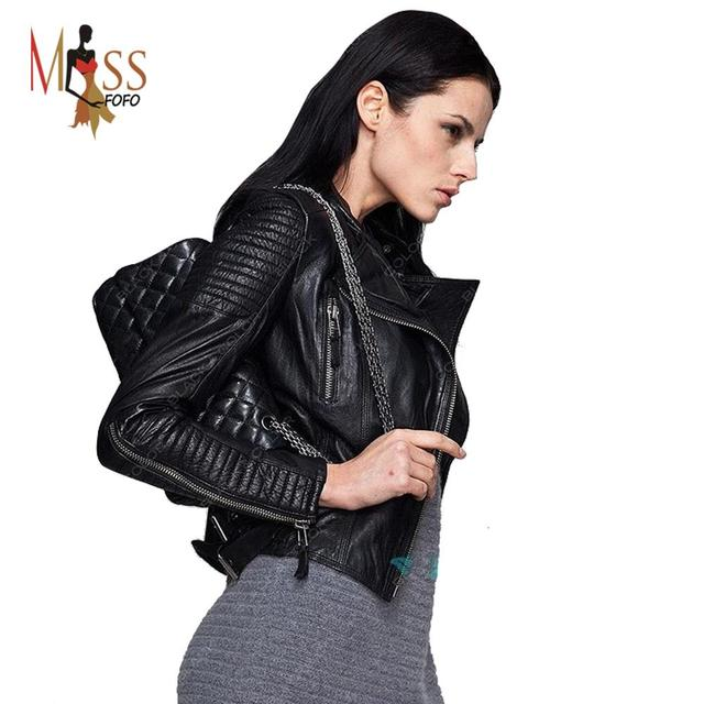 Натуральная кожа 2016 осень высокая мода улица фирменный стиль женщины из натуральной ...