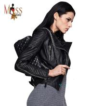 Genuine Leather 2016 autumn new high Fashion street brand style Women real Leather Short Motorcycle Jacket Outerwear top quality(China (Mainland))